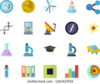 Color flat icon set satellite antenna flat vector, molecules, microscope, flask, chart, moon, gas burner, computer, spark, bachelor cap, cpu, lightning, beakers, ufo, windmill, folders for papers
