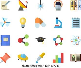 Color flat icon set satellite antenna flat vector, laser, molecules, pipette, microscope, tomograph, atom, notepad, chart, bulb, bachelor cap, hostory roll, textbook, pushpin, ufo, windmill, pills