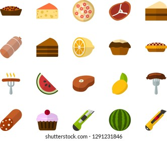Color Flat Icon Set - sausage flat vector, cheese, cake, steak, pizza, fruit, piece of, lemon, watermelon, office knife
