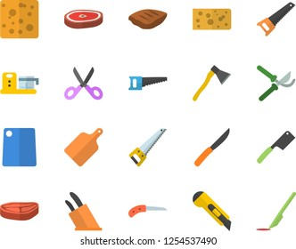 Color flat icon set saw flat vector, stationery knife, ax, knives, scissors, cutting board, food processor, chop, cheese, secateurs, scalpel