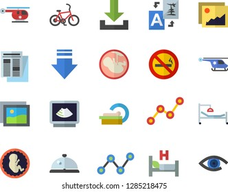 Color flat icon set scatter chart flat vector, news, hospital bed, ultrasound, helicopter, embryo, tomograph, bicycle fector, no smoking, jingle, gallery, download, translate, eye