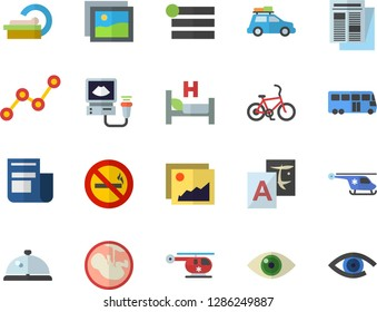 Color flat icon set scatter chart flat vector, news, hospital bed, ultrasound, helicopter, embryo, tomograph, car fector, bus, bicycle, no smoking, jingle, gallery, menu, translate, eye