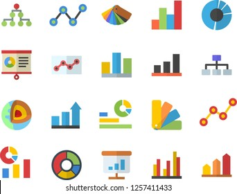 Color flat icon set color scheme flat vector, statistics, scatter chart, statistic, clircle diagram, point, classification, core of the earth fector, achievement