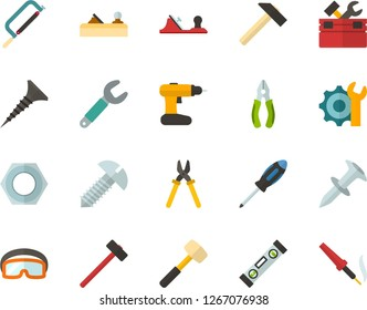 Color Flat Icon Set - settings flat vector, hammer, toolbox, hacksaw for metal, sledgehammer, building level, planer, wrench, tapping screw, screwdriver, pliers, nut, dowel nail, cordless drill