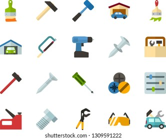 Color Flat Icon Set - settings flat vector, garage, hammer, hacksaw for metal, sledgehammer, tapping screw, screwdriver, press pliers is, bolt, dowel nail, types of screwdrivers, cordless drill
