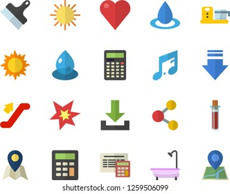 Color flat icon set shower flat vector, calculator, putty knife, food processor, sun, drop, blood test, heart, spark, escalator fector, location, share, download, note