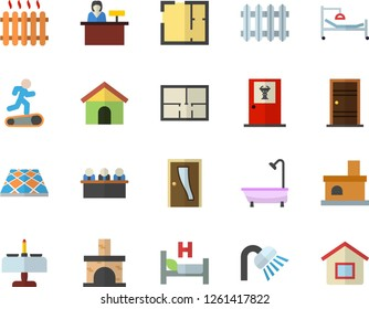 Color flat icon set shower flat vector, house layout, Entrance door, flooring, fireplace, radiator, hospital bed, meeting, Treadmill, romantic dinner fector, doctor's office, reception desk