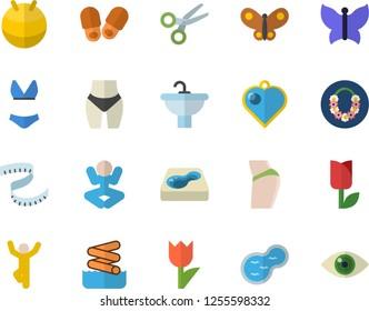 Color flat icon set sink flat vector, tulip, butterflies, pond, pool, centimeter, buttocks, waistline, fitball, swimsuit, yoga, gymnastics, hawaiian wreath fector, aquapark, slippers, heart pendant