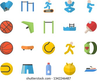 Color flat icon set skateboard flat vector, basketball, parallel bars, athletic shorts, tennis ball, fitball, boxing gloves, yoga, Treadmill, squats, run, water, pool, fitness bracelet, table