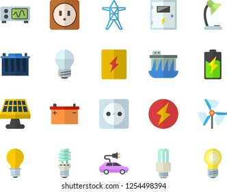 Color flat icon set sockets flat vector, energy saving lamp, switch box, battery, solar, accumulator, socket, power line support, hydroelectric station, electric cars, reading, fector, oscilloscope
