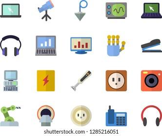 Color flat icon set sockets flat vector, switch box, construction plummet, blender, socket, tomograph, computer chart, telephone, laptop, stapler, robot hand, oscilloscope, industrial, telescope