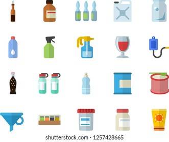 Color flat icon set spice flat vector, sauce, lemonade, wine, pulverizer, canister, glass bottles, funnel, vial, medical warmer, ampoule, vitamins, proteins, steroids, water