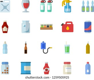 Color flat icon set spice flat vector, ketchup, sauce, lemonade, wine, soda, mustard, pulverizer, canister, glass bottles, medical warmer, ampoule, vitamins, proteins, water