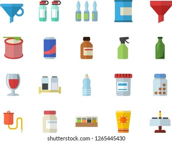 Color flat icon set spice flat vector, lemonade, wine, pulverizer, glass bottles, funnel, vial, medical warmer, ampoule, vitamins, proteins, steroids, water, sun protection cream fector