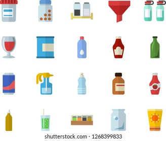Color flat icon set spice flat vector, ketchup, lemonade, wine, soda, mustard, pulverizer, glass bottles, funnel, vial, ampoule, vitamins, proteins, water, sun protection cream fector