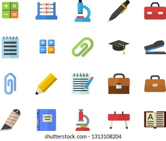 Color flat icon set stationery knife flat vector, calculator, microscope, briefcase, abacus, pen, stapler, notepad, pencil, bachelor cap, textbook, sports equipment horse, clip, book