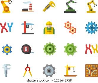 Color flat icon set tape measure flat vector, trammel, factory, cogwheel, construction worker, crane, robotics, dividers, chromosomes, industrial robot, electronic circuit