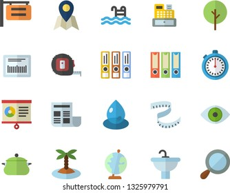 Color flat icon set tape measure flat vector, sink, saucepan, tree, drop, signboard, barcode, cash machine, eye, chart, document, globe, folders for papers, centimeter, stopwatch, pool, location