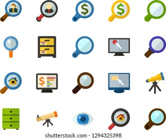 Color Flat Icon Set - telescope flat vector, archive, magnifier, search finance, monitor statistic, find in computer, eye, housing, customer