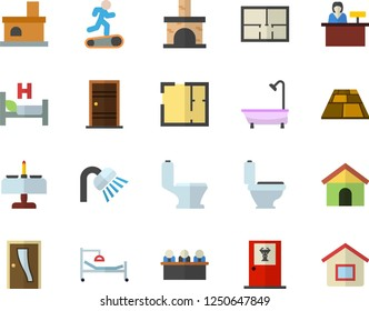 Color flat icon set toilet flat vector, shower, house layout, Entrance door, flooring, fireplace, hospital bed, meeting, Treadmill, romantic dinner fector, doctor's office, reception desk