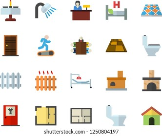 Color flat icon set toilet flat vector, shower, house layout, Entrance door, flooring, fireplace, radiator, hospital bed, meeting, Treadmill, romantic dinner fector, doctor's office, reception desk