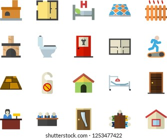 Color flat icon set toilet flat vector, house layout, Entrance door, flooring, fireplace, radiator, hospital bed, meeting, Treadmill, doctor's office fector, reception desk, do not disturb
