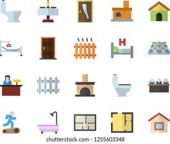 Color flat icon set toilet flat vector, shower, house layout, Entrance door, flooring, fireplace, radiator, hospital bed, meeting, Treadmill, romantic dinner fector, reception desk