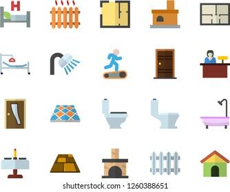 Color flat icon set toilet flat vector, shower, house layout, Entrance door, flooring, fireplace, radiator, hospital bed, Treadmill, romantic dinner fector, reception desk
