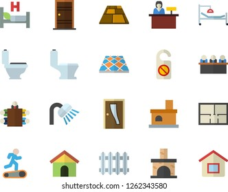 Color flat icon set toilet flat vector, shower, house layout, Entrance door, flooring, fireplace, radiator, hospital bed, meeting, Treadmill, reception desk fector, do not disturb