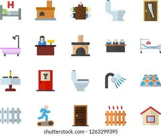 Color flat icon set toilet flat vector, shower, Entrance door, flooring, fireplace, radiator, hospital bed, meeting, Treadmill, romantic dinner fector, doctor's office, reception desk, house