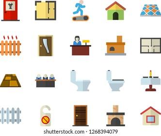 Color flat icon set toilet flat vector, house layout, Entrance door, flooring, fireplace, radiator, meeting, Treadmill, romantic dinner fector, doctor's office, reception desk, do not disturb