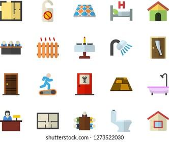 Color flat icon set toilet flat vector, shower, house layout, Entrance door, flooring, radiator, hospital bed, meeting, Treadmill, romantic dinner fector, doctor's office, reception desk