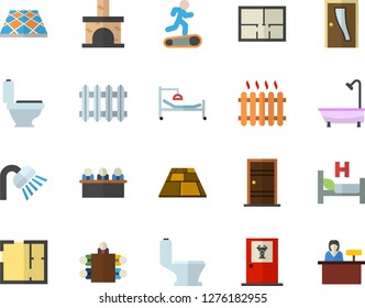 Color flat icon set toilet flat vector, shower, house layout, Entrance door, flooring, fireplace, radiator, hospital bed, meeting, Treadmill, doctor's office fector, reception desk