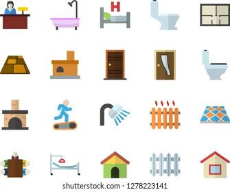 Color flat icon set toilet flat vector, shower, house layout, Entrance door, flooring, fireplace, radiator, hospital bed, meeting, Treadmill, reception desk fector