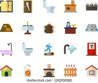Color flat icon set toilet flat vector, shower, house layout, Entrance door, flooring, fireplace, radiator, meeting, Treadmill, romantic dinner fector, doctor's office, reception desk