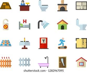 Color flat icon set toilet flat vector, shower, house layout, Entrance door, flooring, fireplace, radiator, hospital bed, Treadmill, romantic dinner fector, doctor's office, reception desk