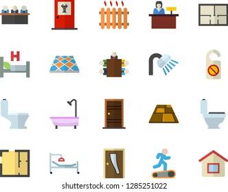 Color flat icon set toilet flat vector, shower, house layout, Entrance door, flooring, radiator, hospital bed, meeting, Treadmill, doctor's office fector, reception desk, do not disturb