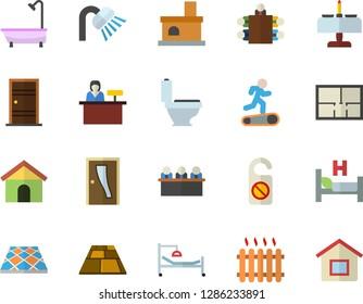Color flat icon set toilet flat vector, shower, house layout, Entrance door, flooring, fireplace, radiator, hospital bed, meeting, Treadmill, romantic dinner fector, reception desk, do not disturb