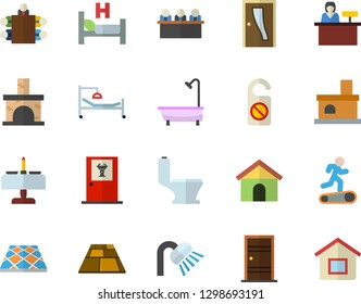 Color flat icon set toilet flat vector, shower, Entrance door, flooring, fireplace, hospital bed, meeting, Treadmill, romantic dinner, doctor's office, reception desk, do not disturb, house
