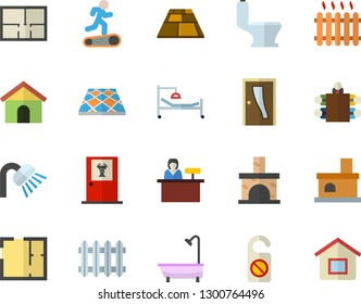 Color flat icon set toilet flat vector, shower, house layout, Entrance door, flooring, fireplace, radiator, hospital bed, meeting, Treadmill, doctor's office fector, reception desk, do not disturb