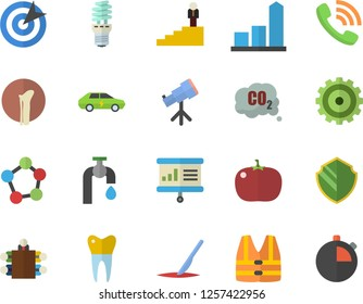 Color flat icon set tomato flat vector, water tap, energy saving lamp, electric cars, carbon dioxide, cogwheel, chart, phone call, scalpel, molecules, dental crowns, bone fracture, target, meeting