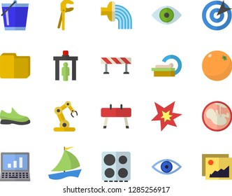 Color flat icon set tool flat vector, barrier, electric stove, orange, bucketful, hose irrigation, sailboat, eye, embryo, tomograph, computer file, target, spark, industrial robot, sneakers, gallery