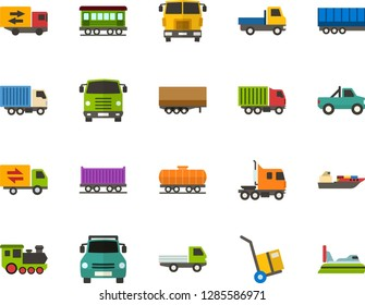 Color Flat Icon Set - trolley flat vector, trucking industry, car pickup, open van, semi trailer, truck cab, lorry, old train, freight, front view, cargo ship, hovercraft