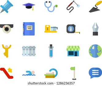 Color flat icon set trowel flat vector, tape measure, heating batteries, food processor, earth, welding, stethoscope, tomograph, ink pen, bachelor cap, textbook, beakers, sports flag, swimming, shop