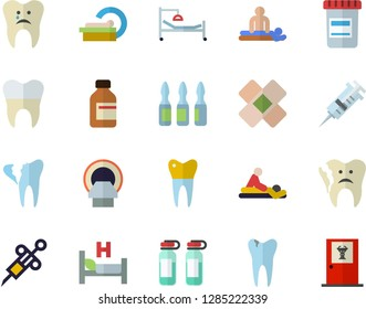 Color flat icon set vial flat vector, syringe, hospital bed, massage, patch, ampoule, tomograph, caries, broken tooth, dental crowns, doctor's office fector