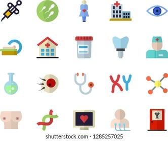 Color flat icon set vial flat vector, syringe, computer diagnostics of health, hospital, physician, stethoscope, eye, tomograph, gestation, breast, DNA, chromosomes, sperm, artificial insemination