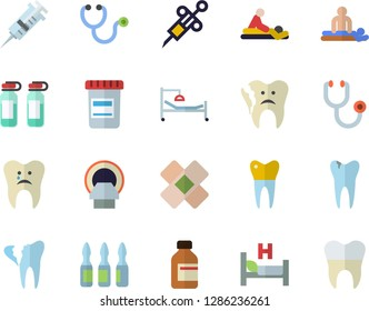 Color flat icon set vial flat vector, syringe, stethoscope, hospital bed, massage, patch, ampoule, tomograph, caries, broken tooth, dental crowns