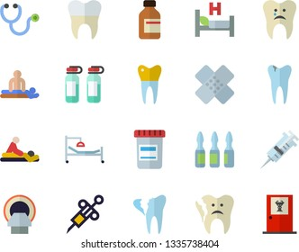 Color flat icon set vial flat vector, syringe, stethoscope, hospital bed, massage, patch, ampoule, tomograph, caries, broken tooth, dental crowns, doctor's office fector