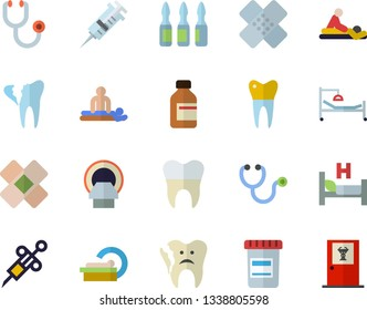 Color flat icon set vial flat vector, syringe, stethoscope, hospital bed, massage, patch, ampoule, tomograph, broken tooth, dental crowns, doctor's office fector