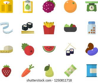 Color flat icon set weighing machine flat vector, spaghetti, legumes, watermelon, salad, French fries, fish rolls, cranberry, Strawberry, blackberry, pear, orange, carrot, diet, centimeter, vitamins